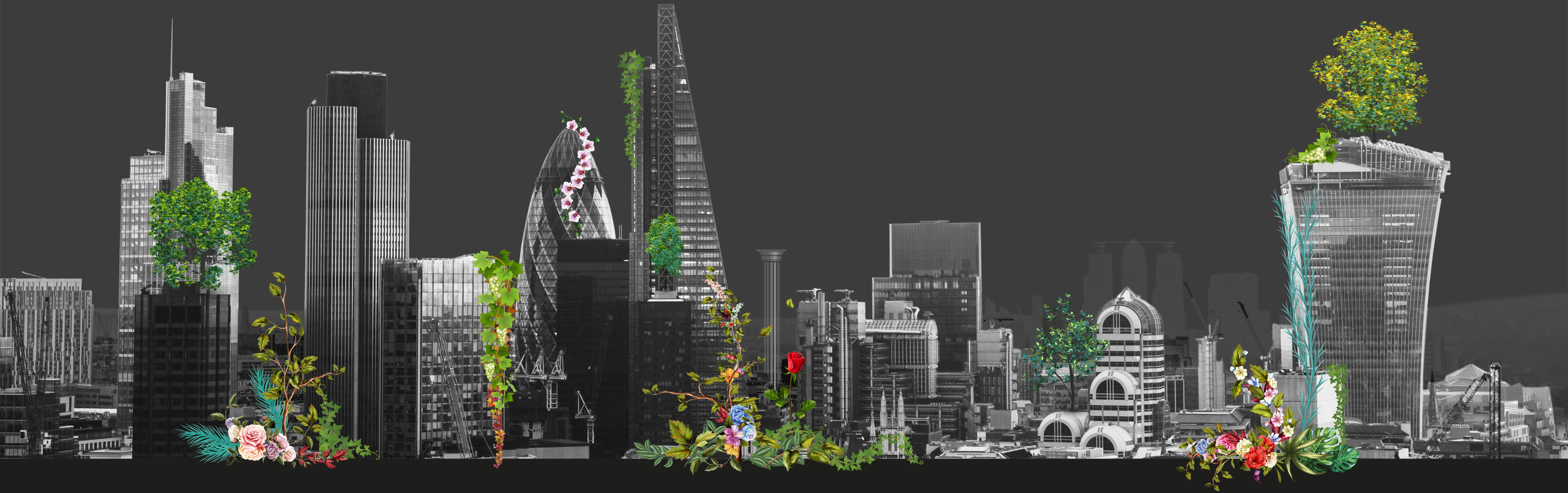 cityscape with layered plant collage